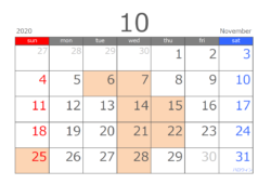 202010月カレンダー
